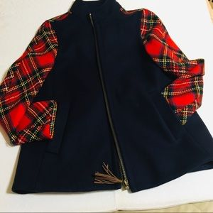 J Crew Blue & Plaid Wool Jacket Size 6